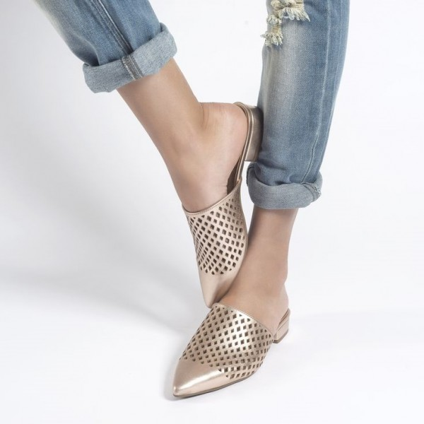 Gold Hollow out Mule Pointy Toe Flat Sandals image 1
