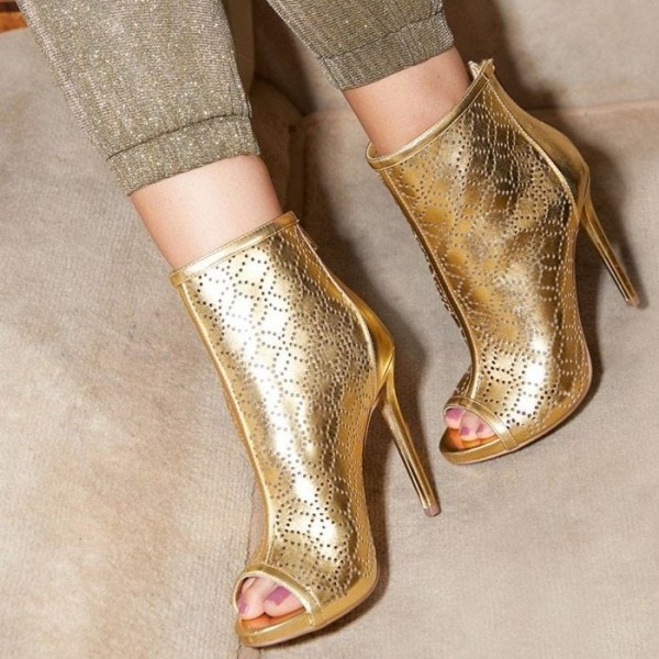 Gold Hollow Out Peep Toe Booties Stiletto Heel Ankle Boots image 1