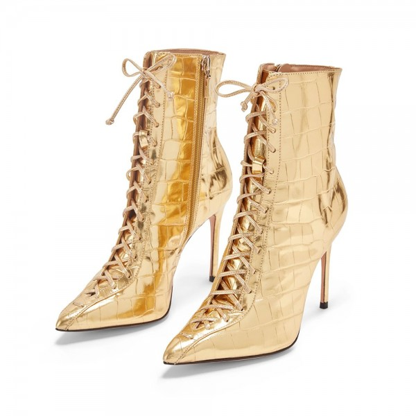 Gold Lace Up Boots Stiletto Heel Ankle Boots image 1