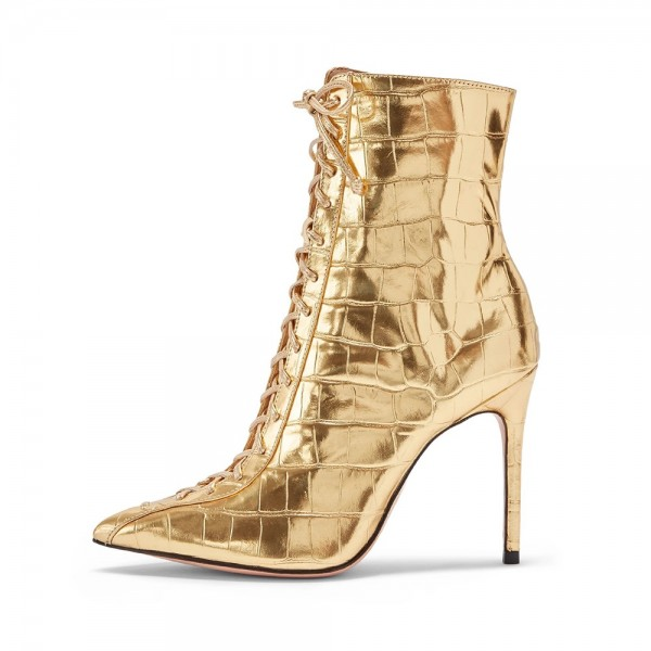 Gold Lace Up Boots Stiletto Heel Ankle Boots image 2