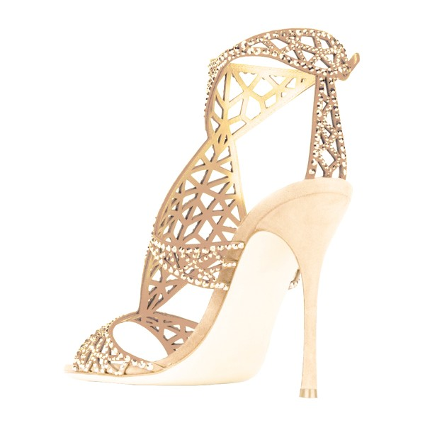 Golden Wedding Shoes Rhinestone Hollow Out Bridal Sandals image 4