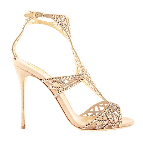 Golden Wedding Shoes Rhinestone Hollow Out Bridal Sandals image 3