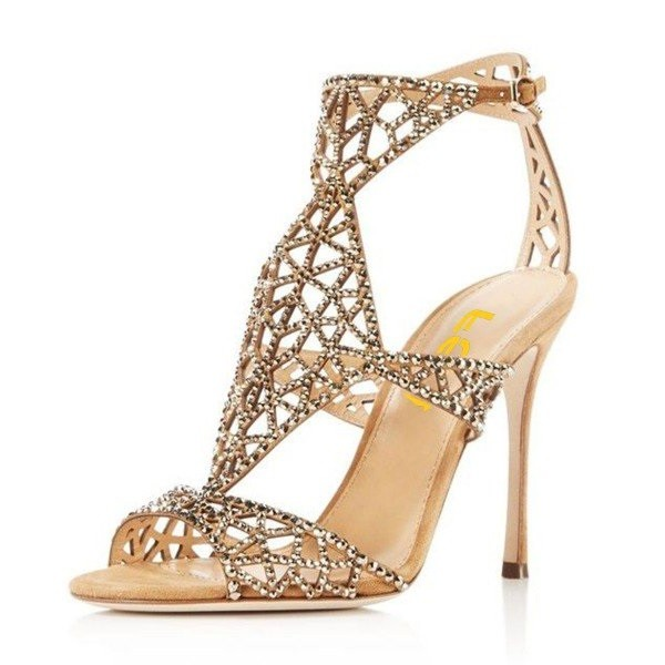 Golden Wedding Shoes Rhinestone Hollow Out Bridal Sandals image 7