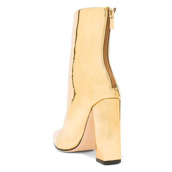 Gold Metallic Chunky Heel Boots Ankle Boots image 3