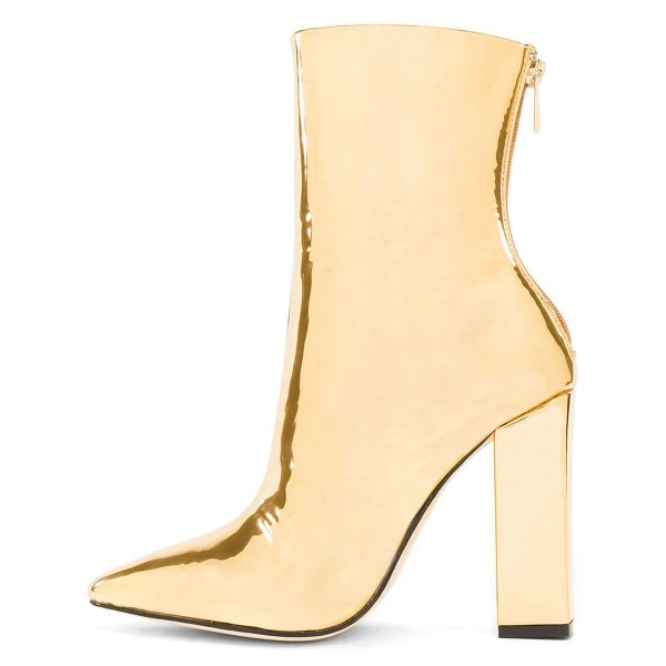 Gold Metallic Chunky Heel Boots Ankle Boots image 4