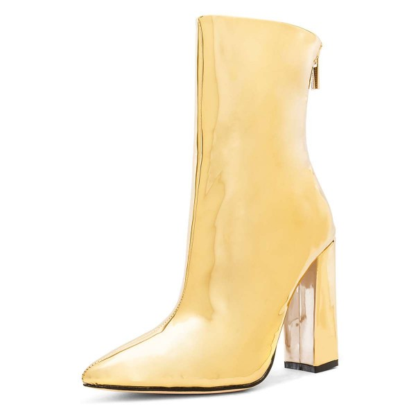 Gold Metallic Chunky Heel Boots Ankle Boots image 1