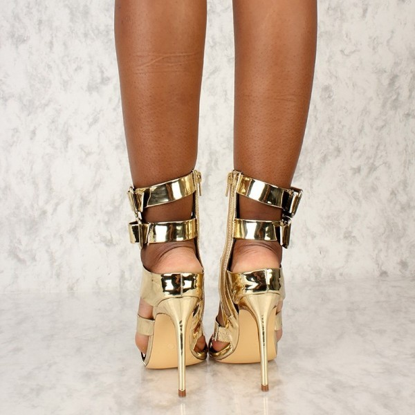 Gold Open Toe Stiletto Heels Buckles Metallic Ankle Strap Sandals image 2