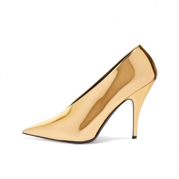 Gold Metallic Heels Pointy Toe Vintage Pumps for Party image 1