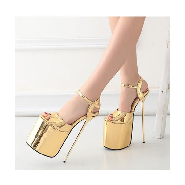 Gold Stripper Heels Peep Toe Metallic Stiletto Heel Sexy Shoes image 4