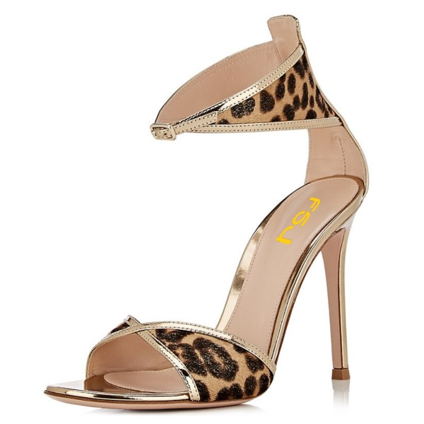 Gold Metallic Leopard Print Stiletto Heel Ankle Strap Sandals image 1