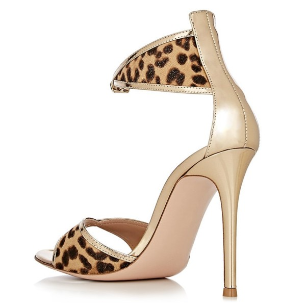 Gold Metallic Leopard Print Stiletto Heel Ankle Strap Sandals image 4