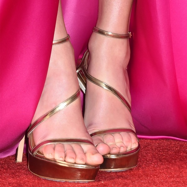 Gold Open Toe Ankle Strap Sandals Stiletto Heels Platform Sandals image 2