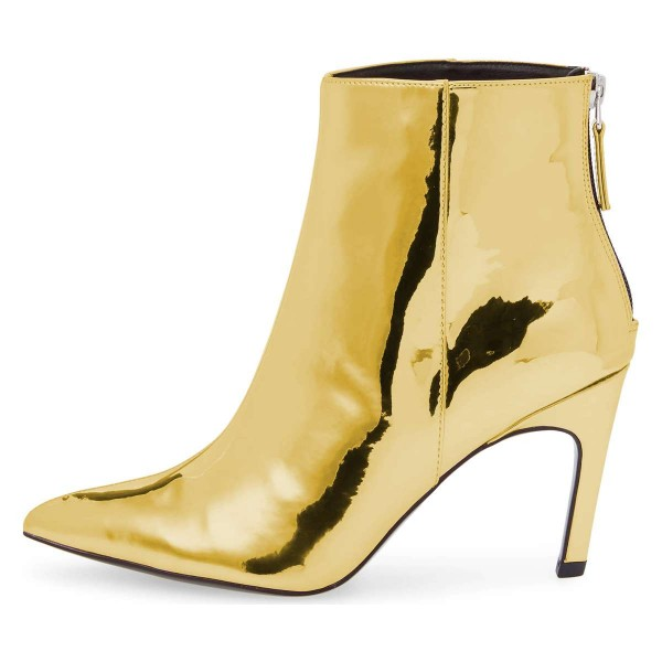 Gold Metallic Pointy Fashion Boots Stiletto Heel Ankle Boots image 2