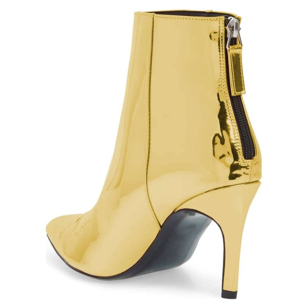 Gold Metallic Pointy Fashion Boots Stiletto Heel Ankle Boots image 4