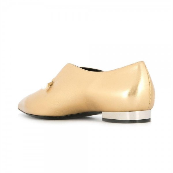 Gold Metallic Pointy Toe Flats Pearl Details Fashion Loafers for Women image 3