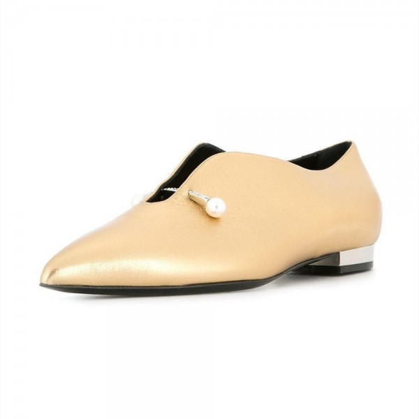 Gold Metallic Pointy Toe Flats Pearl Details Fashion Loafers for Women image 1