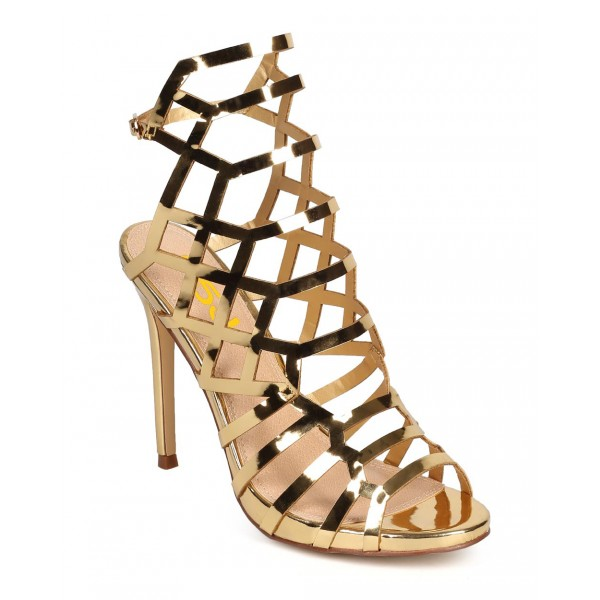 Women's Gold Slingback Heels Hollow out Stiletto Heels Caged Sandals image 3