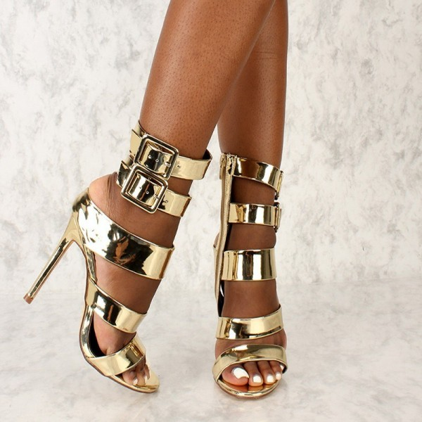 Gold Open Toe Stiletto Heels Buckles Metallic Ankle Strap Sandals image 4