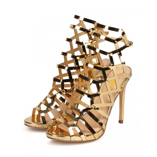 Women's Gold Slingback Heels Hollow out Stiletto Heels Caged Sandals image 4