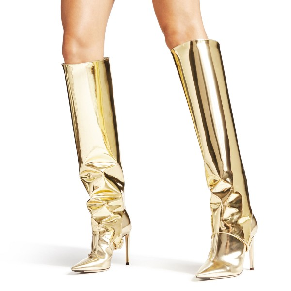 Gold Metallic Stiletto Boots Sexy Pointy Toe Knee-high Boots image 1