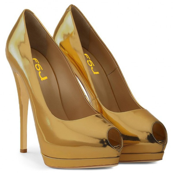 Gold Metallic Heels Peep Toe Platform Pumps High Heel Shoes for Party image 2