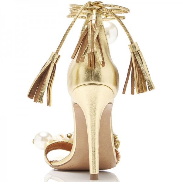 Gold Metallic Tassel Pearl Stiletto Heel Ankle Strap Sandals image 3