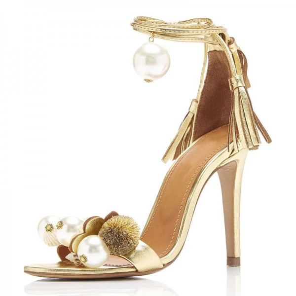 Gold Metallic Tassel Pearl Stiletto Heel Ankle Strap Sandals image 1