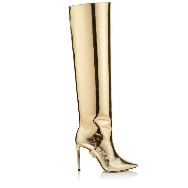 Gold Metallic Two-Piece Stiletto Boots Sexy Pointy Toe Knee-high Boots image 3