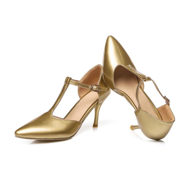 Gold T Strap Pumps Closed Toe 3 Inch Stiletto Heels Shoes image 4