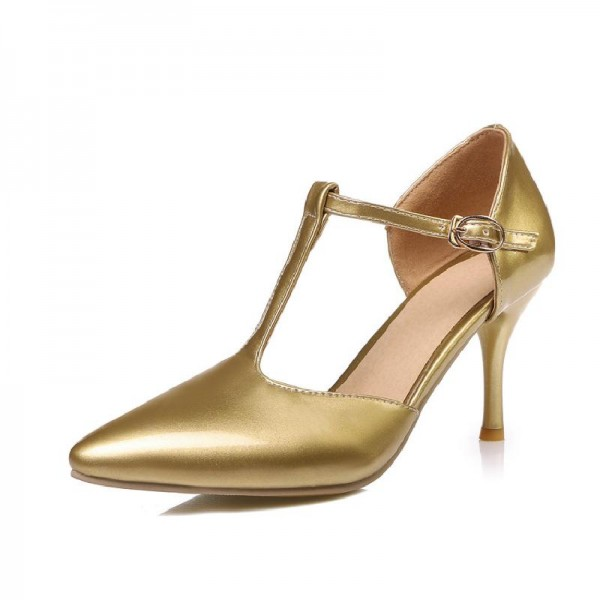 Gold T Strap Pumps Closed Toe 3 Inch Stiletto Heels Shoes image 2
