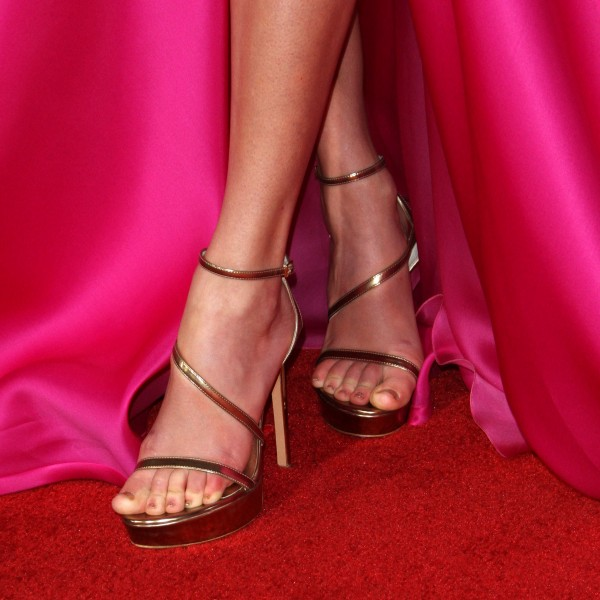 Gold Open Toe Ankle Strap Sandals Stiletto Heels Platform Sandals image 1