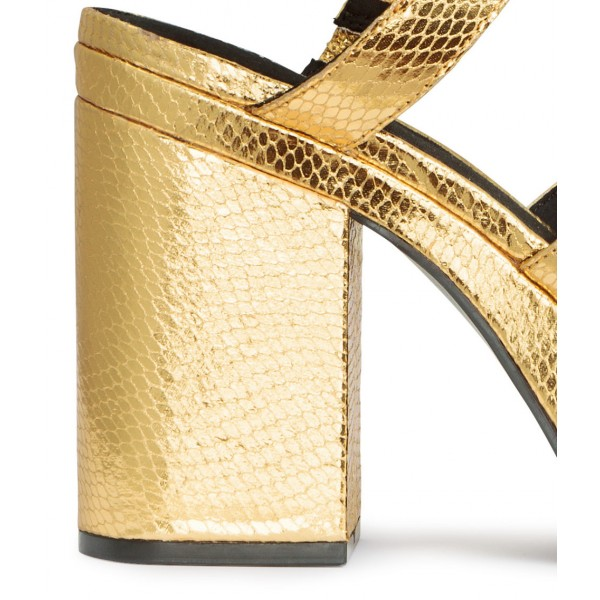 Women's Golden  Ankle Strap Buckle Platform Chunky Heel Sandals image 4