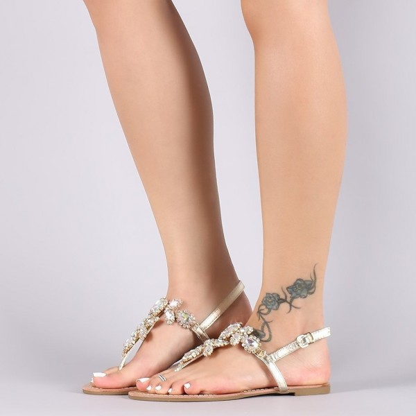 7a2c2c1d0 Gold Jeweled Sandals Trending Summer Flat Thong Sandals for Party ...