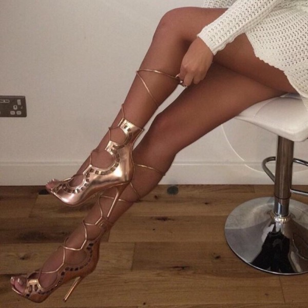 Gold Open Toe Strappy Sandals Stiletto Heel Sandals image 1