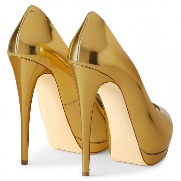 Gold Metallic Heels Peep Toe Platform Pumps High Heel Shoes for Party image 3