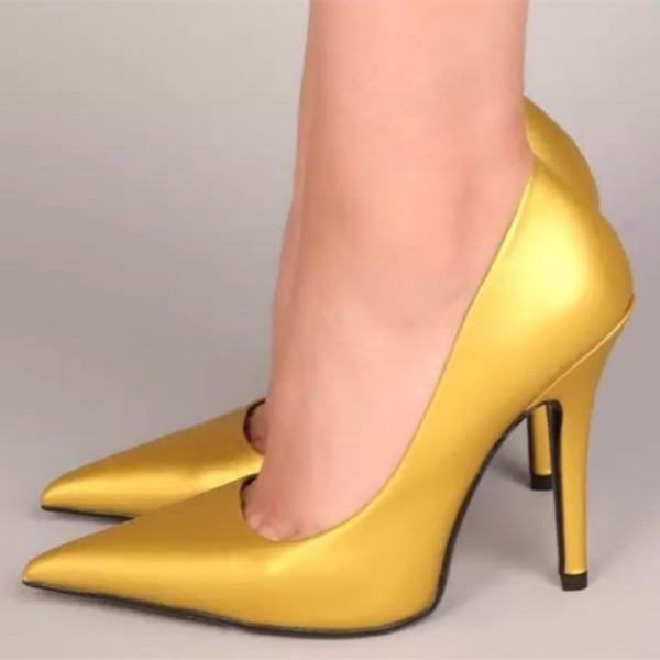 Gold Pointy Toe Stiletto Heels Pumps image 1