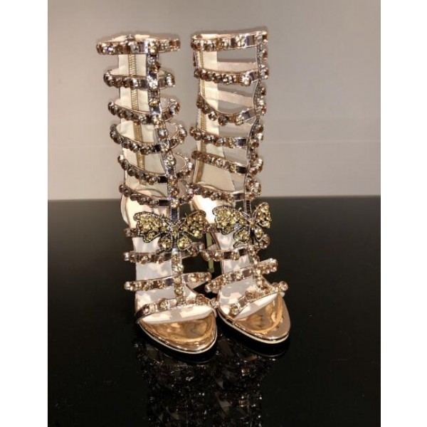 fd513bed323e Gold Rhinestone Gladiator Heels Open Toe Sexy Strappy Sandals image 1 ...