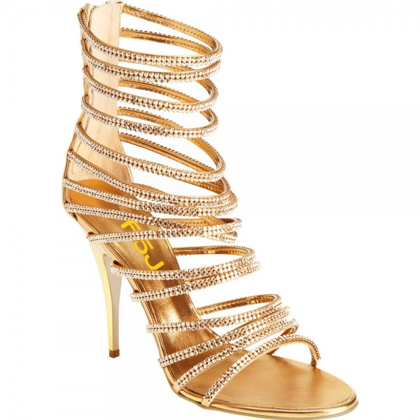 Gold Evening Shoes Rhinestone Stiletto Heel Strappy Sandals for ...