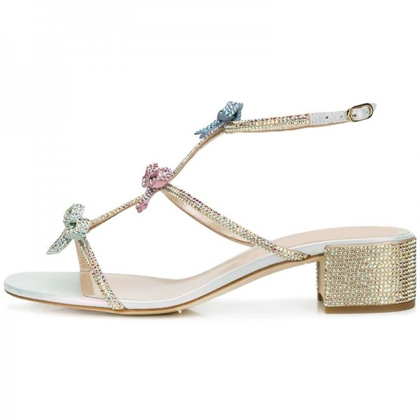 Three-Tone Rhinestone Block Heel Sandals Bow Detailed Wedding Shoes image 2