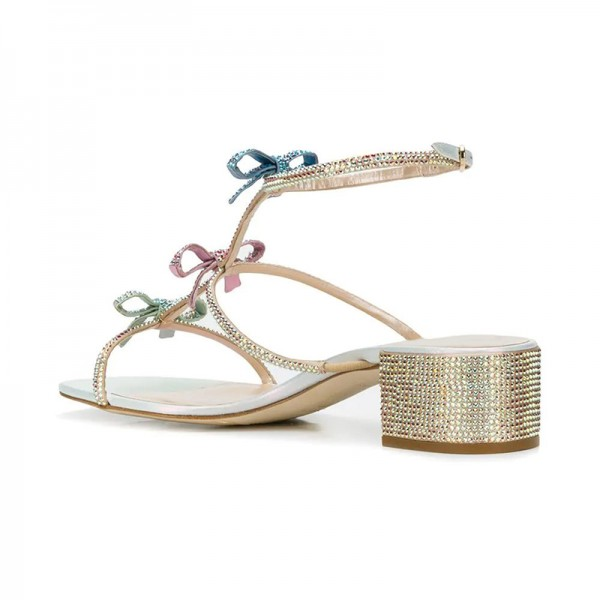 Three-Tone Rhinestone Block Heel Sandals Bow Detailed Wedding Shoes image 4