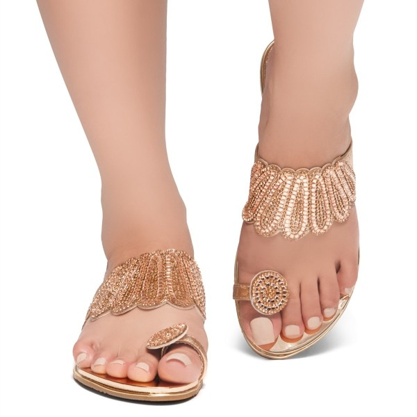 Gold Rhinestones Women's Slide Sandals image 2