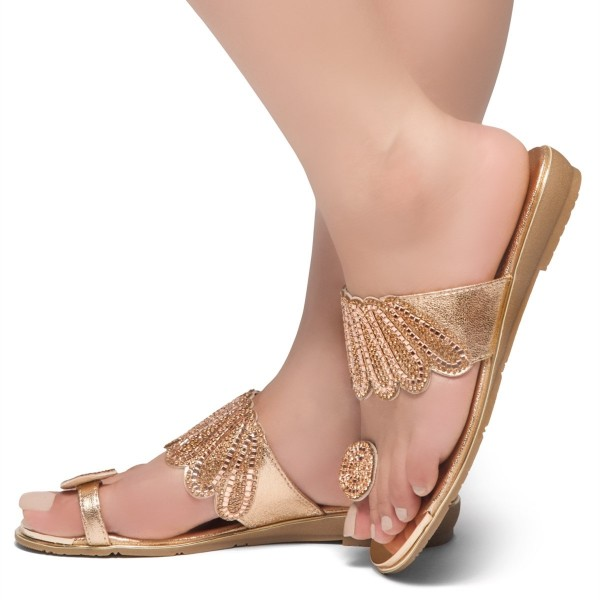 Gold Rhinestones Women's Slide Sandals image 1