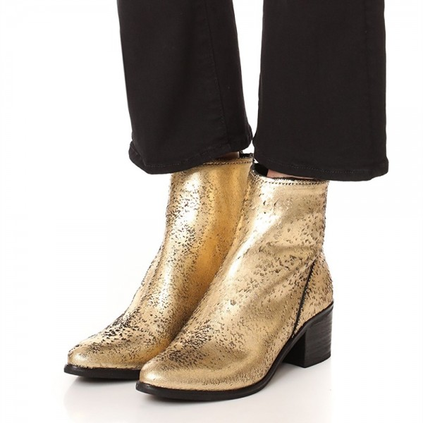 Gold Round Toe Block Heel Boots Sequined Ankle Booties with Zipper image 1