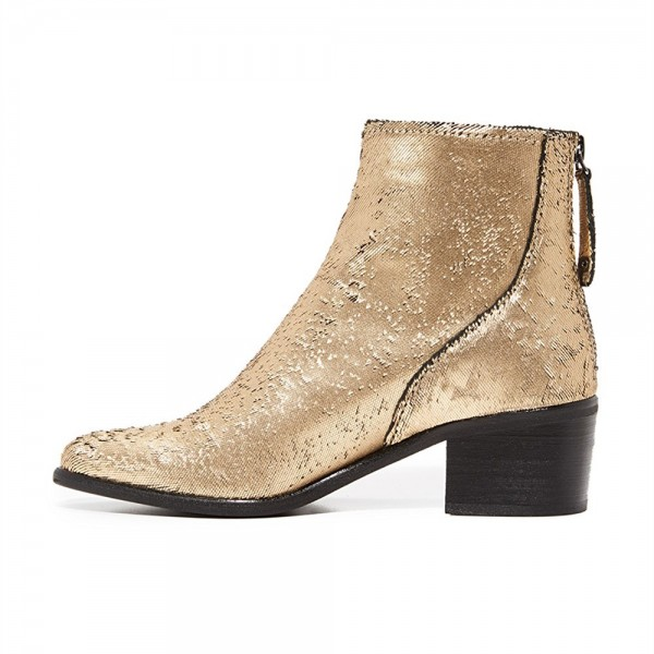Gold Round Toe Block Heel Boots Sequined Ankle Booties with Zipper image 2