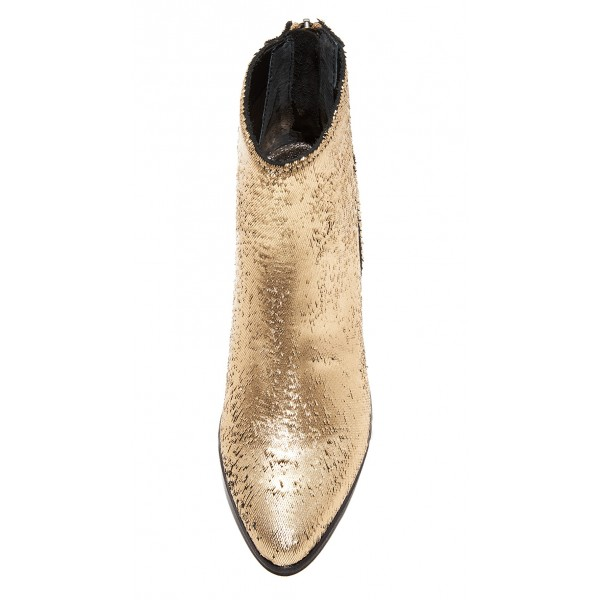 Gold Round Toe Block Heel Boots Sequined Ankle Booties with Zipper image 4