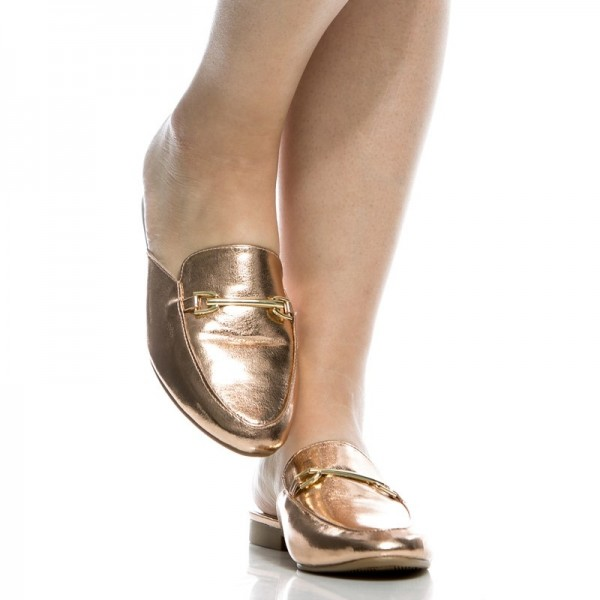 Gold Metallic Loafer Mules Round Toe Flat Loafers for Women image 2