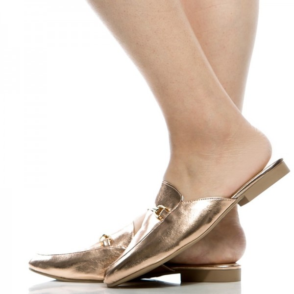 Gold Metallic Loafer Mules Round Toe Flat Loafers for Women image 4