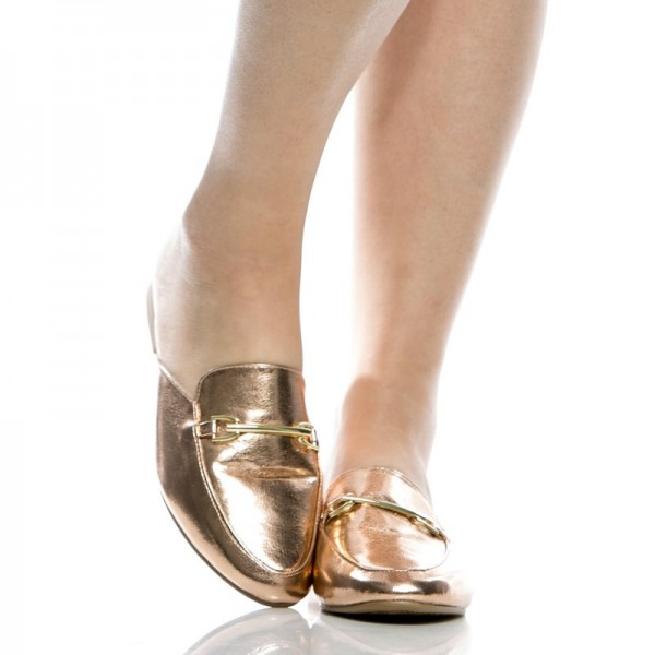 Gold Metallic Loafer Mules Round Toe Flat Loafers for Women image 3