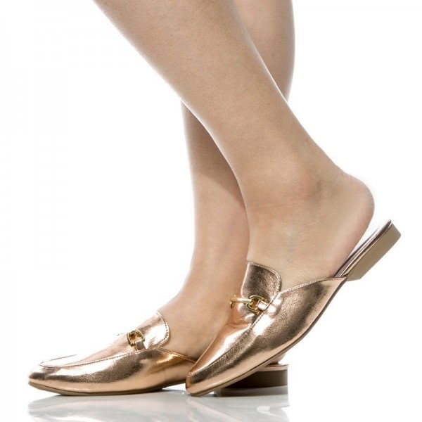 Gold Metallic Loafer Mules Round Toe Flat Loafers for Women image 1
