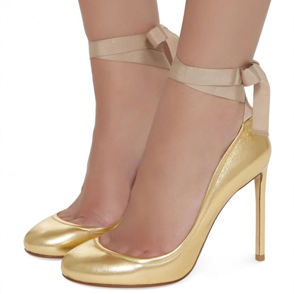 Gold Round Toe Stiletto Heels Sexy High Heel Strappy Pumps image 1